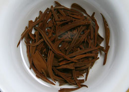 brewed tea leaves of tan yang congou black tea