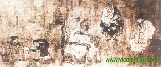 a scene of people of tang dynasty boiling tea